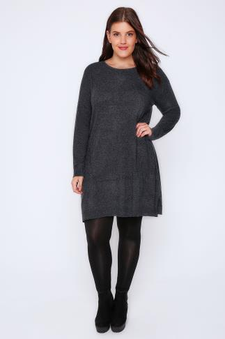 Tunic Dresses Dark Grey Wool Blend Tunic Dress With Front Seam Detail 101555
