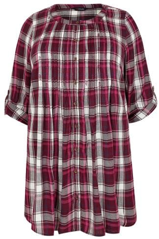 Blouses & Shirts Dark Pink Checked Longline Embellished Top With Pintuck Detailing 130173
