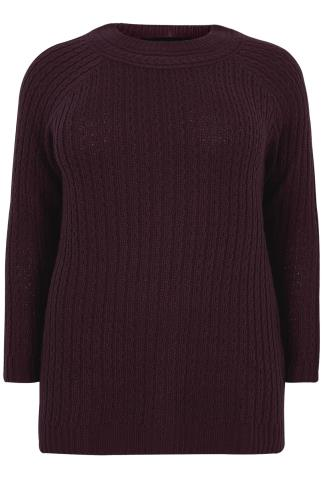 Dark Purple Cable Knit Long Sleeve Jumper