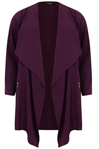 Dark Purple Crepe Longline Waterfall Jacket
