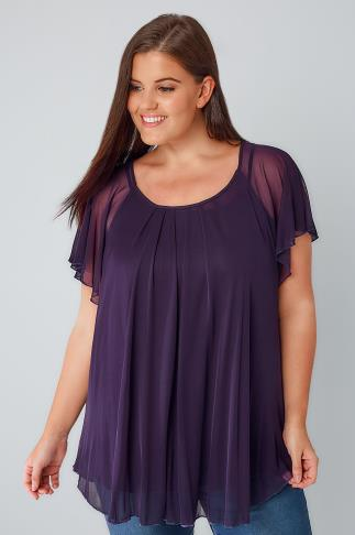 Dark Purple Double Layered Mesh Lightweight Blouse With Angel Sleeves 170138