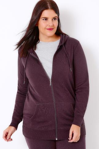 Hoodies & Jackets Dark Purple Hoodie With Zip Fastening 100739