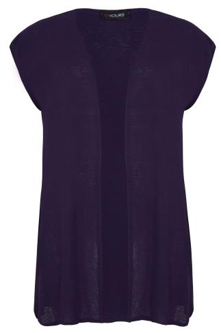 Dark Purple Longline Knitted Shrug With Extended Shoulders