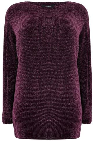 Dark Purple Ribbed Chenille Batwing Jumper