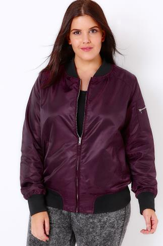 Bombers Dark Purple Satin Bomber Jacket 103089