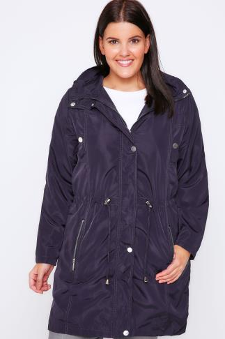 Dark Purple Subtle Shine Parka Jacket With Hood