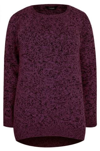 Dark Purple Textured Jumper With Dipped Hem