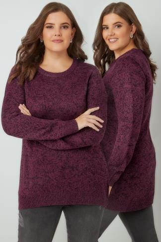 Jumpers Dark Purple Textured Jumper With Dipped Hem 124106