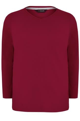 T-Shirts Dark Red Long Sleeved V-Neck Jersey Top 132416