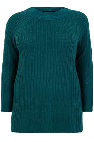 Dark Teal Cable Knit Long Sleeve Jumper