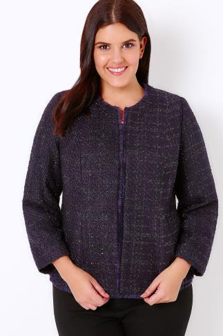 Deep Purple Sparkle Boucle Jacket With Fringe Trim 101020