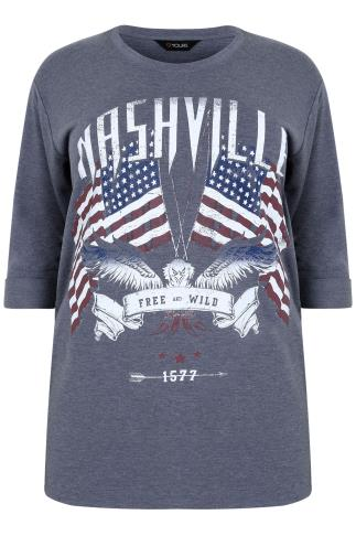 "Denim Blue ""Nashville Free & Wild"" Jersey Top With 3/4 Length Sleeves"