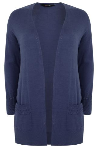 Denim Blue Longline Cardigan With Pointelle Pocket & Cuff Detail