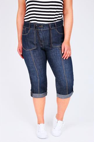 Denim Blue Rib Waist Roll Up Crops With Pockets