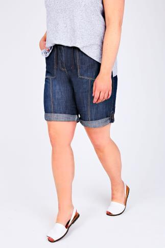Denim Blue Rib Waist Roll Up Shorts With Pockets