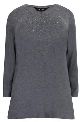 Denim Blue Stud Embellished Fine Knit Swing Top