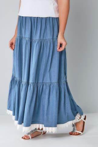 Maxi Skirts Denim Blue Tiered Maxi Skirt With Lace Trim Hem 160019