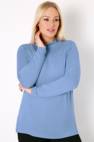 Denim Blue Turtle Neck Long Sleeved Soft Touch Jersey Top
