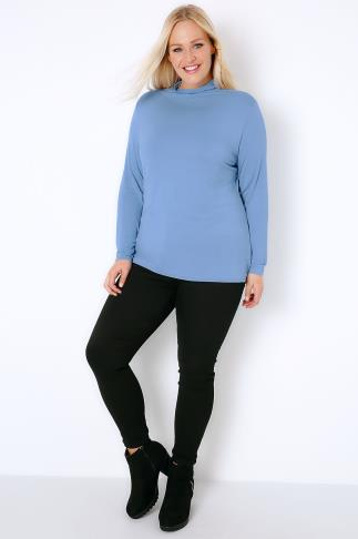 Day Tops Denim Blue Turtle Neck Long Sleeved Soft Touch Jersey Top 156032