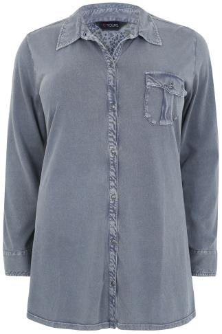 Denim Blue Washed Cotton Jersey Long Sleeve Shirt
