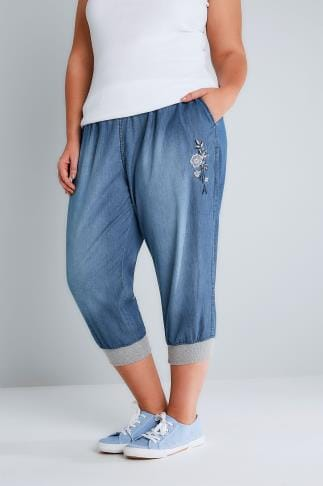 Boyfriend & Slouch Jeans Mid Blue Denim Cropped Jogger Trousers With Floral Embroidery 144029