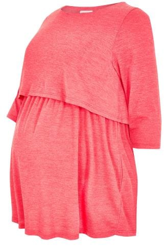 BUMP IT UP MATERNITY Coral Layered Tunic Top With Nursing Function