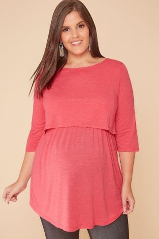 Maternite BUMP IT UP MATERNITY Coral Layered Tunic Top With Nursing Function 158060