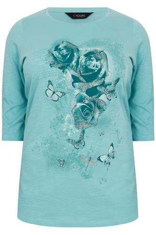 Duck Egg Blue Butterfly & Rose Printed Top With 3/4 Length Sleeves