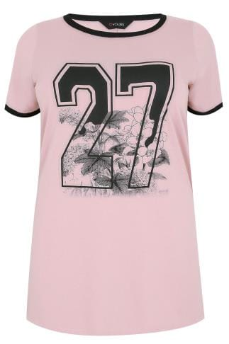 "Dusky Pink ""27"" Floral Print Top With Contrast Edges"