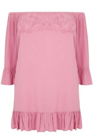 Dusky Pink Beaded Gypsy Top With Flute Sleeves