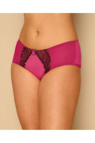 Dusky Pink Brief With Mesh & Lace Detail 146003