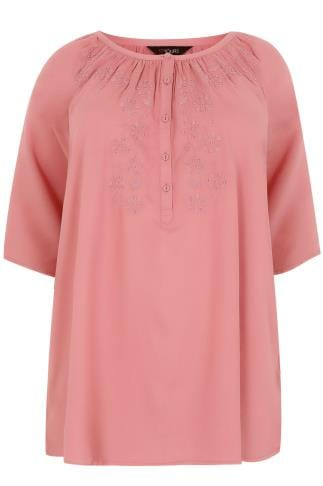 Blouses & Shirts Dusky Pink Button Up Gypsy Blouse With Embroidery Detail 130099