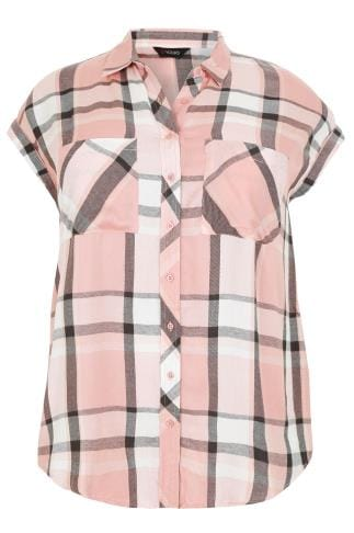 Blouses & Shirts Dusky Pink Checked Shirt With Short Grown-On Sleeves 130132