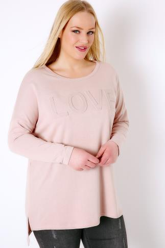 "Dusky Pink Embossed ""Love"" Sweat Top 126016"