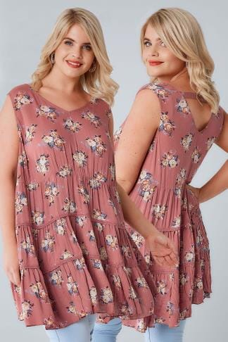 Longline Tops Dusky Pink Floral Print Tiered Sleeveless Swing Top With Crochet Trim 156219
