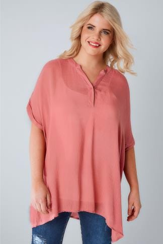 Longline Tops Dusky Pink Oversized Crinkled Shirt With Curved Hem 130124