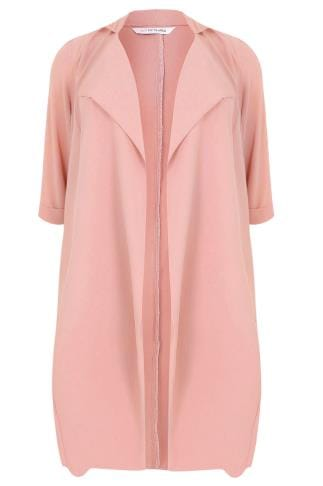 Dusky Pink Panelled Duster Jacket With Waterfall Front & Half Sleeves