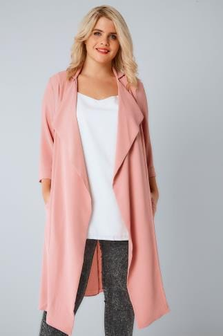 Jackets Dusky Pink Panelled Duster Jacket With Waterfall Front & Half Sleeves 134149