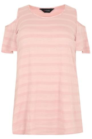 Dusky Pink Tonal Stripe Cold Shoulder Jersey Top