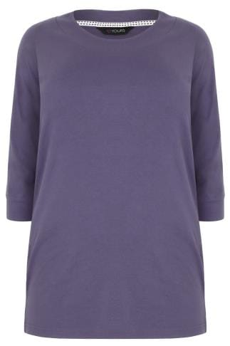 Dusky Purple Band Scoop Neckline T-Shirt With 3/4 Sleeves
