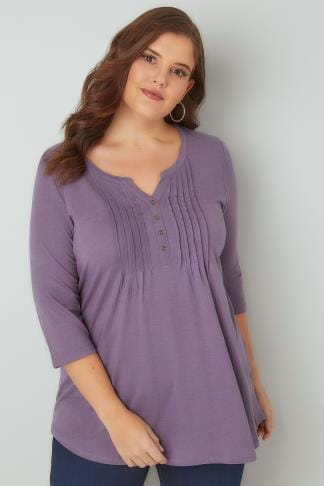 Jersey Tops Dusky Purple Henley Top With Pin Tuck Front 132345