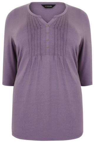 Dusky Purple Henley Top With Pin Tuck Front