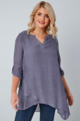 Blouses & Shirts Dusky Purple Layered Blouse With Notch Neck 130139