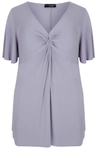 Dusky Purple Twist Front Top With Angel Sleeves
