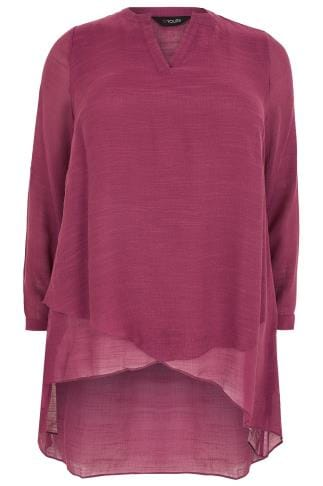 Blouses Dusky Rose Pink Layered Blouse With Notch Neck 130138