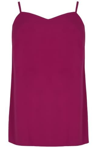 Magenta Pink Woven Cami Top With Side Splits