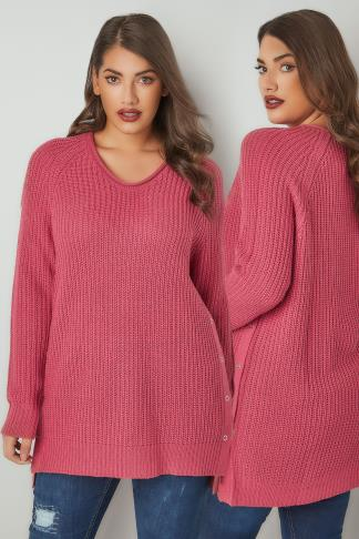 Jumpers Dusty Pink Chunky Knit V-Neck Jumper With Popper Sides 124187