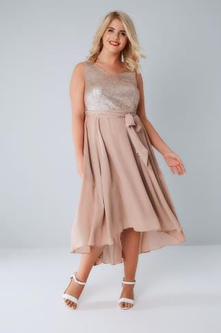 Midikleider Dusty Pink Midi Dress With Sequin Bodice & Waist Tie 136114