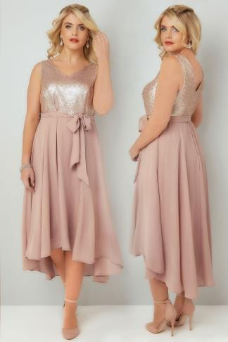 Midi Dresses Dusty Pink Midi Dress With Sequin Bodice & Waist Tie 136114