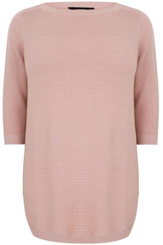Dusty Pink Ribbed Knitted Longline Jumper